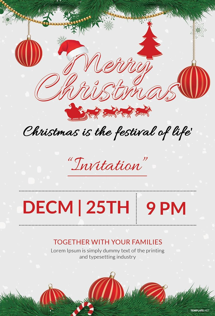 Free Merry Christmas Party Invitation Template Ad Ad Christmas Christmas Party Invitation Template Party Invite Template Christmas Invitations Template