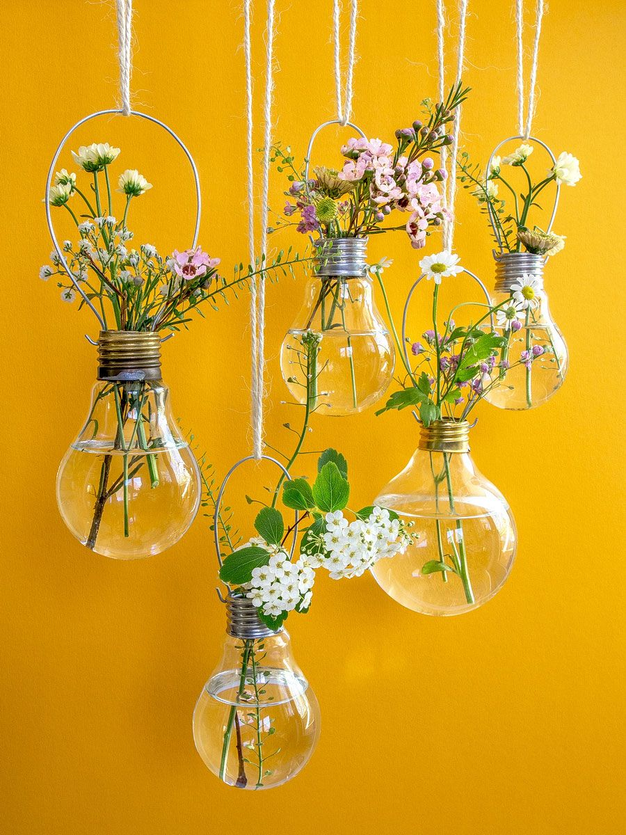 Spring Flowers Light Bulb Vases