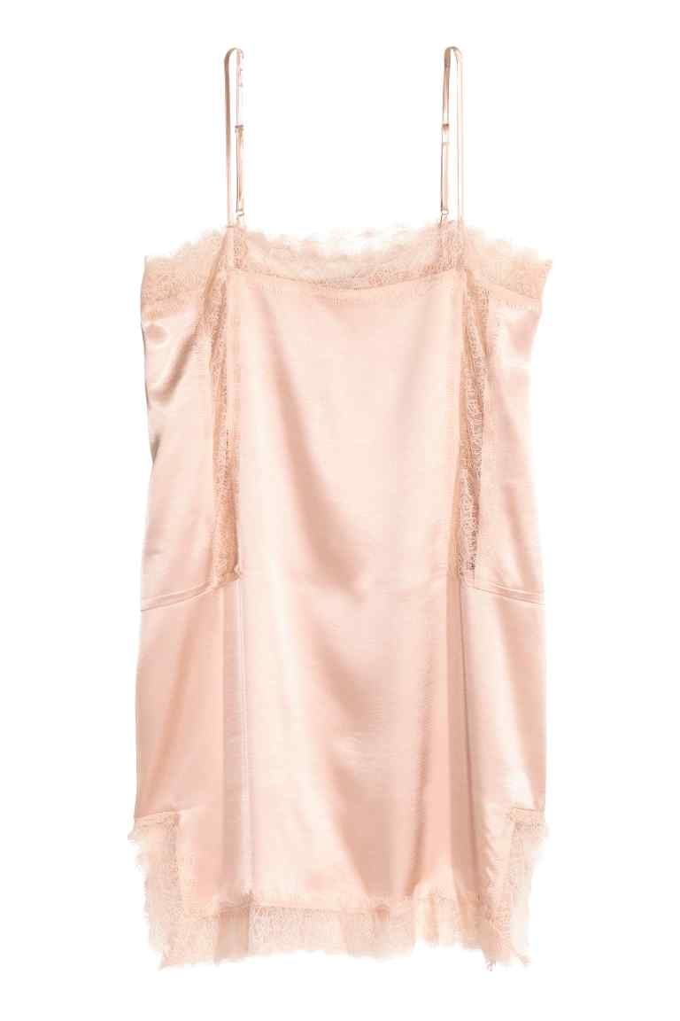fc180eec5cade8 Satin strappy top with lace - Powder pink - Ladies