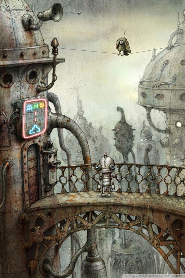 Parrot Machinarium Game Hd Desktop Wallpaper High Definition Steampunk Wallpaper Robot Art Steampunk Art