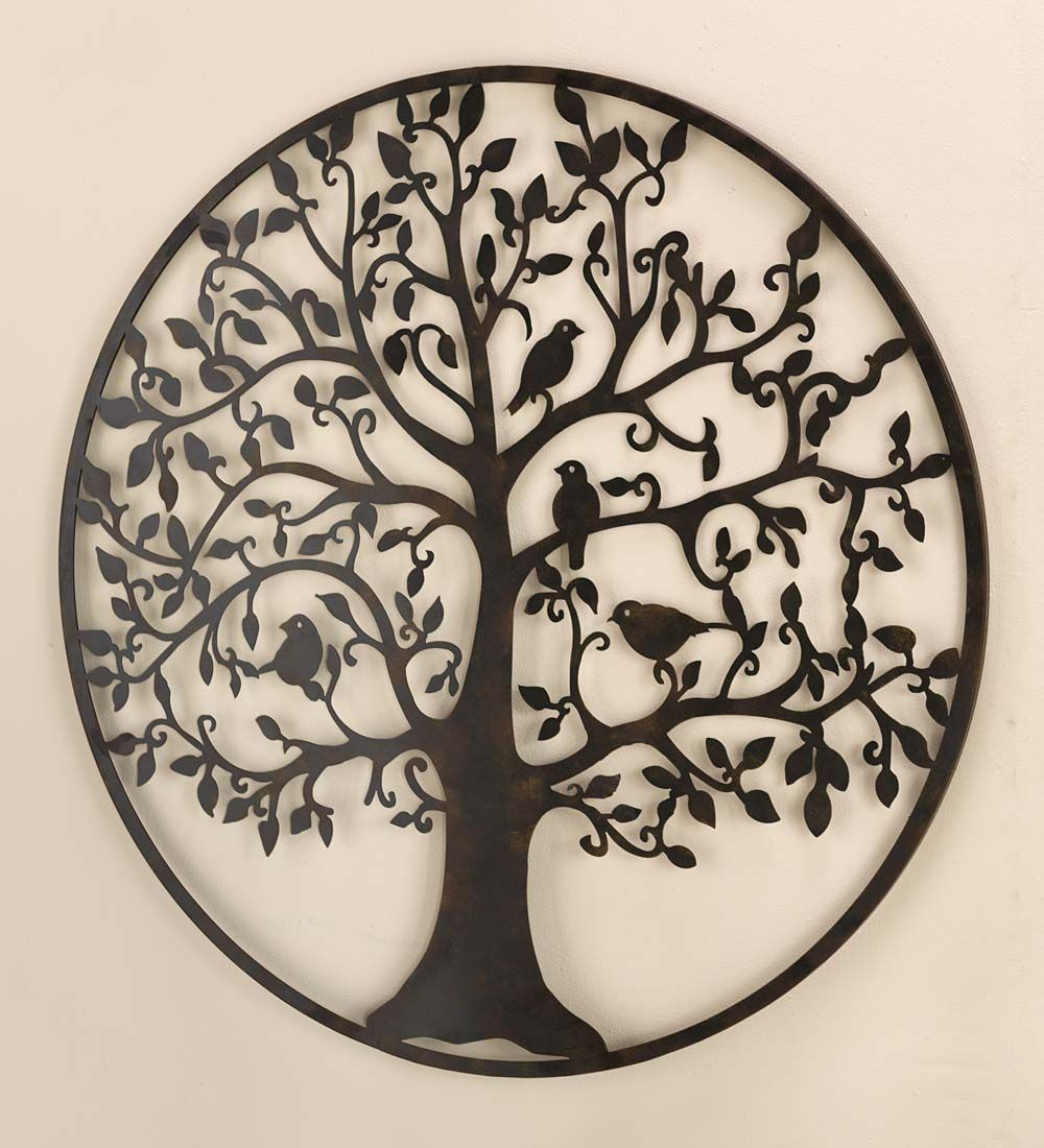 Outdoor Wall Hangings Metal Bird Tree Wall Art In Metal  Metal Wall Art  Iron  Pinterest