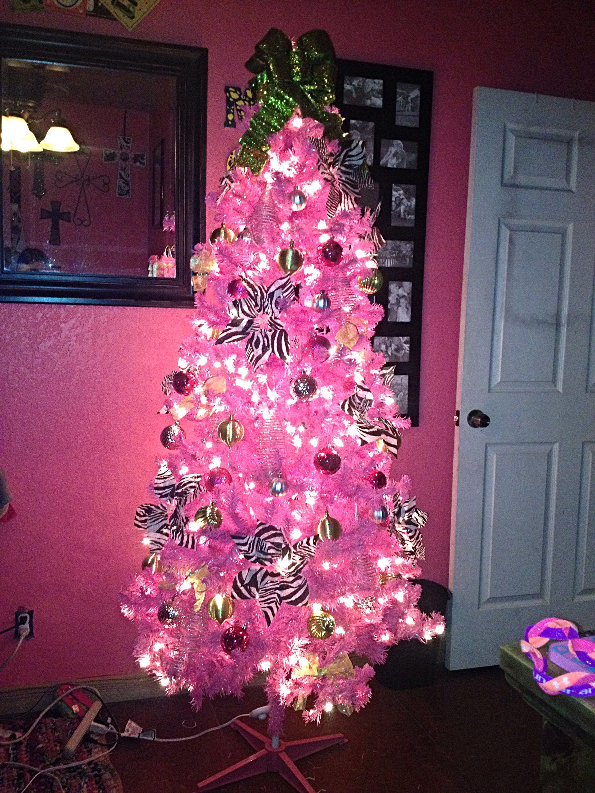 Pink Zebra Lime Green And Sliver Christmas Tree Christmas Tree Christmas Holiday Decor