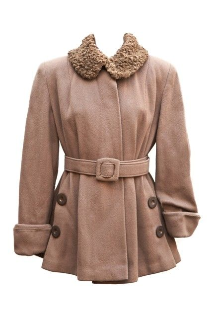 1940's belted wool jacket with fur collar--great 40's style.