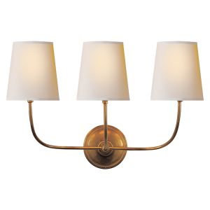 Hand Rubbed Antique Brass With Natural Paper Shades Sconces