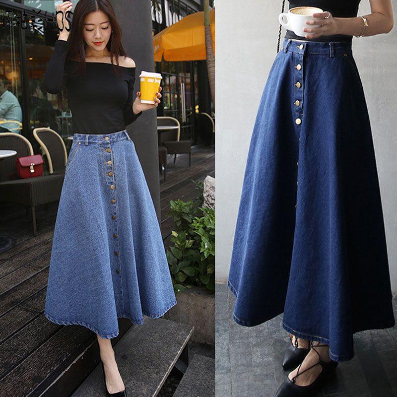 Summer Long Pleated Denim Skirt Street Skirts tutu Womens 2017 Solid  All-match Fashion Plus