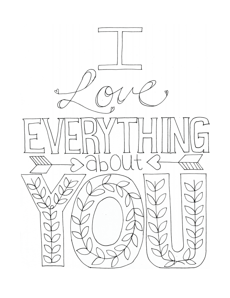 Coloring pages for boyfriend - Free Printable Coloring Page Adult Coloring I Love Everything About You Free Printable Coloring Pages Art Therapy