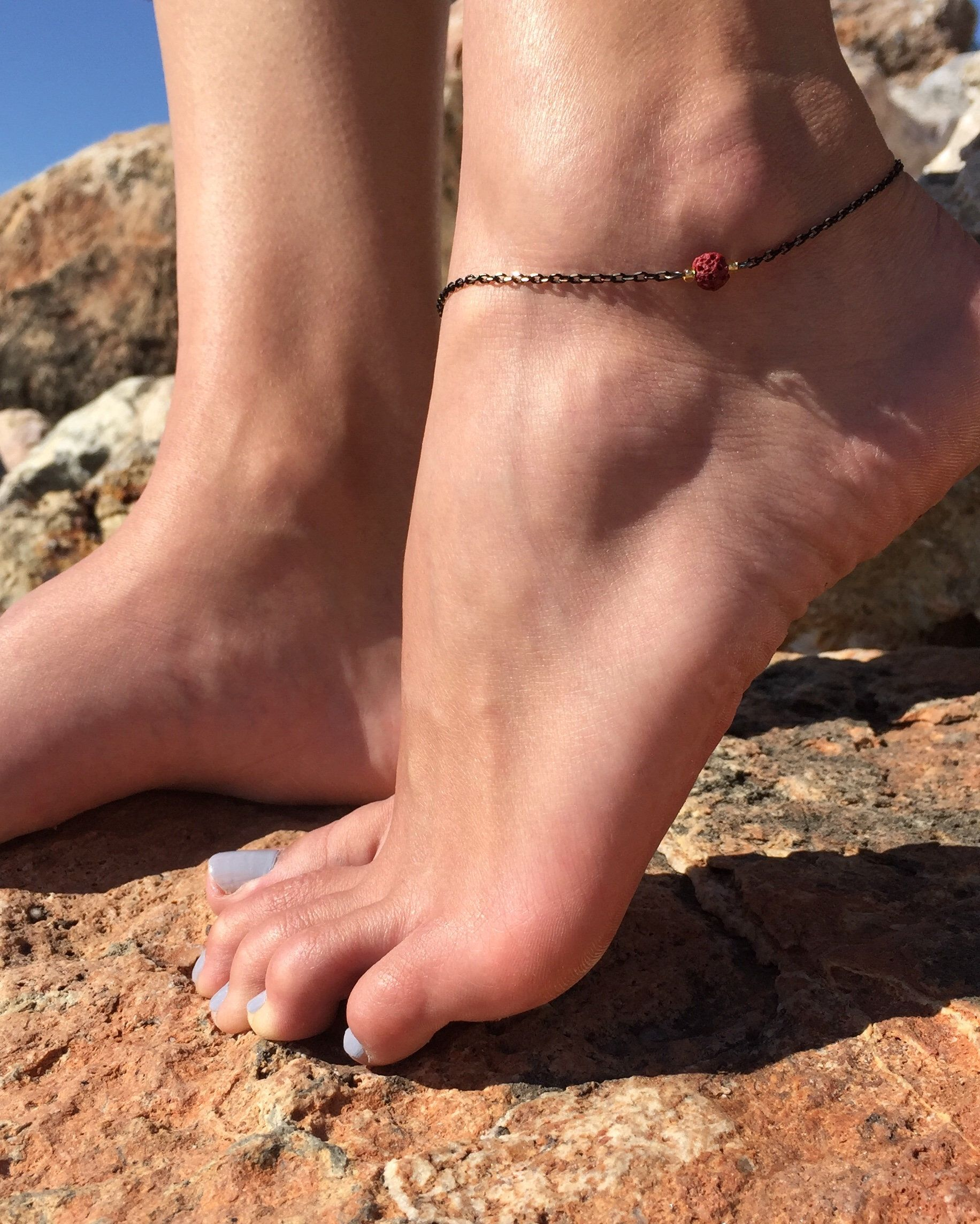 Feather Ankle Bracelet Up To Size 11 Inches