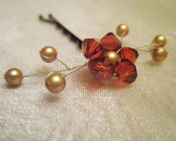 Swarovski Flower Hair Pin autumn red orange by embellishingyou