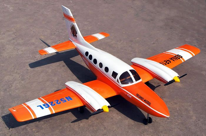 Cessna 421 twin engine sky trainer 6 channel electric rc for Model aircraft electric motors