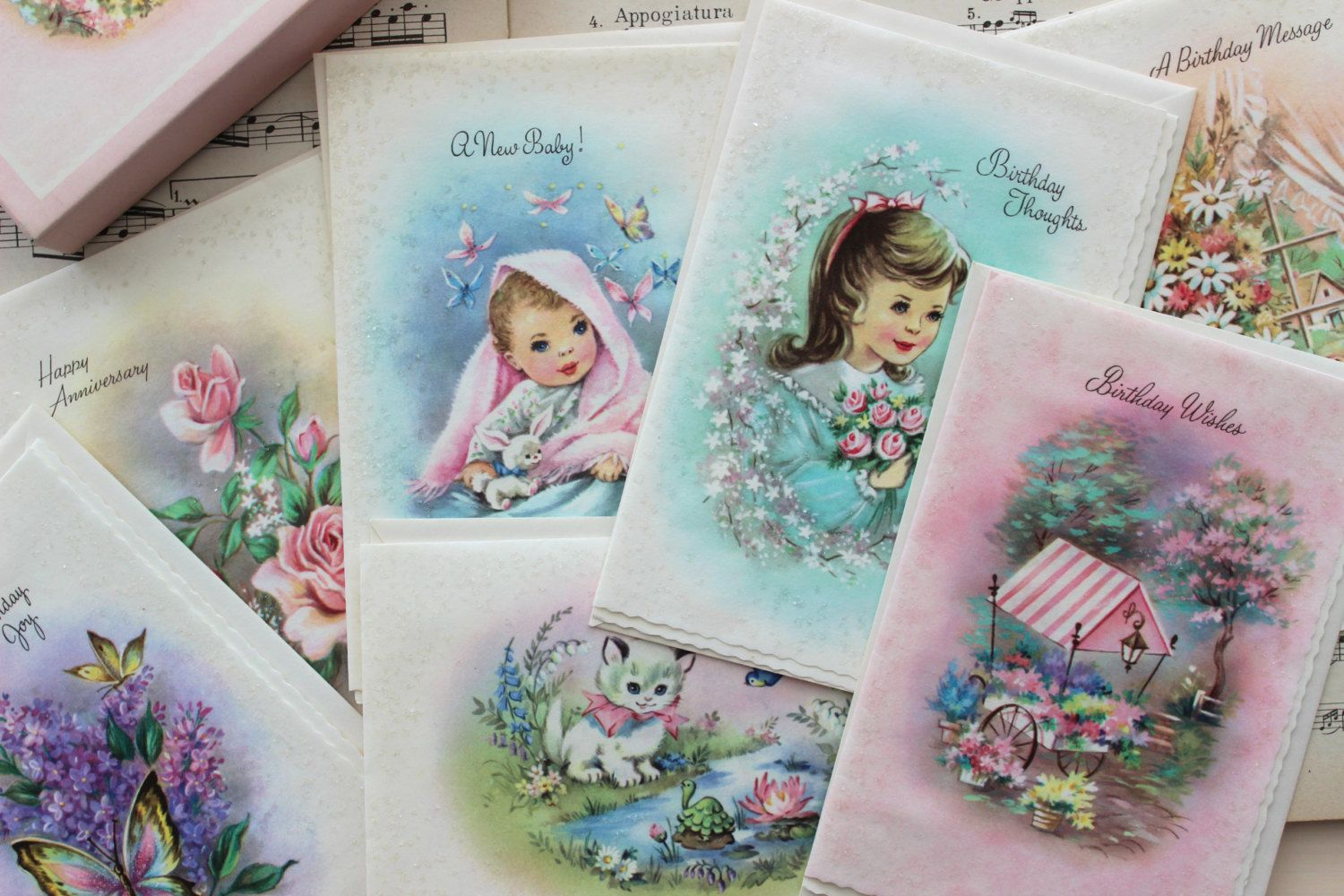 Boxed set of 7 vintage cards birthday new baby & anniversary