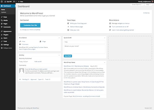 Dit is hoe het dashboard van WordPress eruit ziet. Vanaf hier kun je je gehele WordPress site beheren.