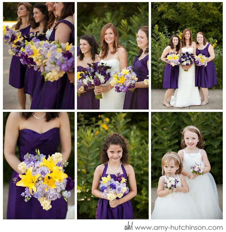 Purple And Yellow Wedding With Modest Clothing Maid Of Honor