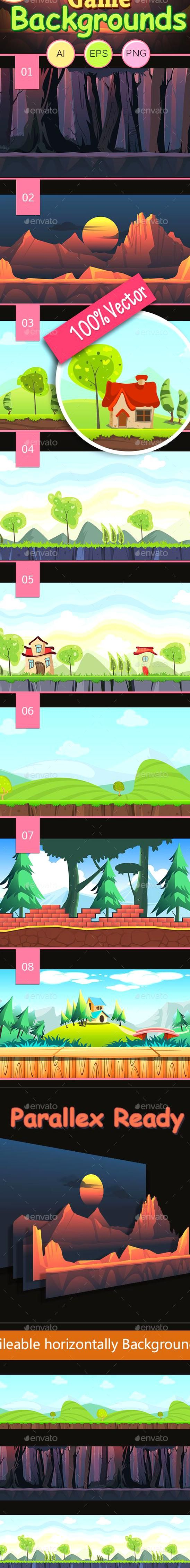 8 Vector Game Backgrounds Backgrounds Game Assets 2d