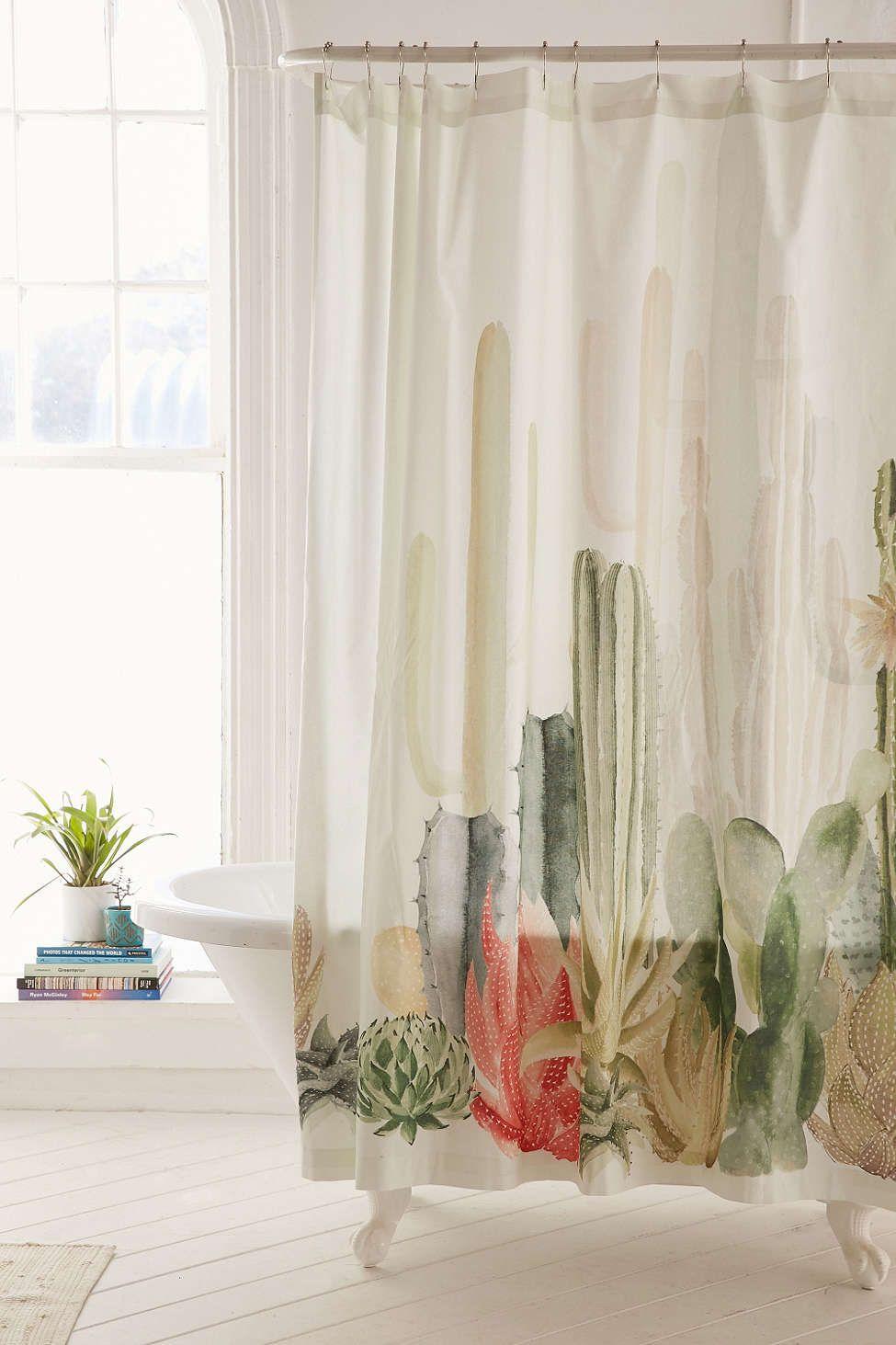 Copper Shower Curtain Hooks Set Shabby Chic Bathroom Cactus