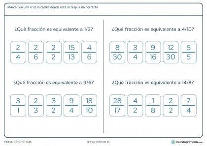 Fichas para imprimir | Las fracciones equivalentes, Las fracciones y ...