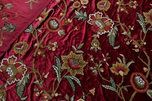 Vintage Fl Crewel Embroidered Velvet Fabric Upholstery