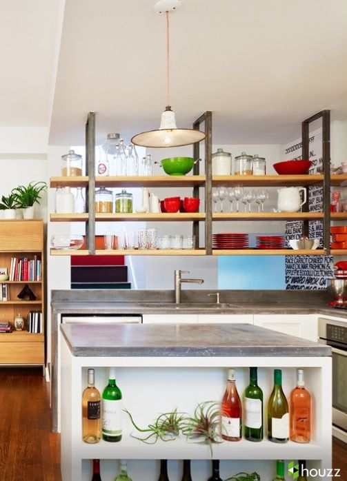 Floating Shelving Industrial Interior Kitchen Kitchen Feature Wall Small Apartment Stove