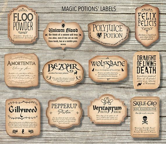 Love Potion Drink Labels: 12 Harry Potter Inspired Magic Potions' Labels