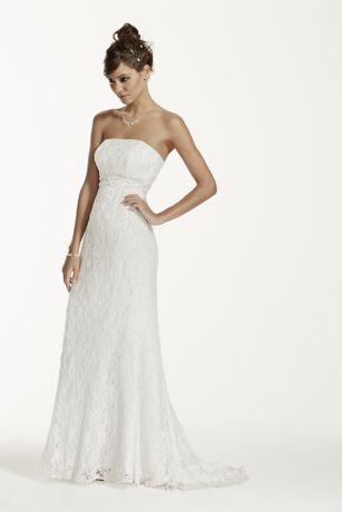 Allover Beaded Lace Sheath Gown With Empire Waist Sheath Wedding Dress Lace Galina Wedding Dress Wedding Dresses