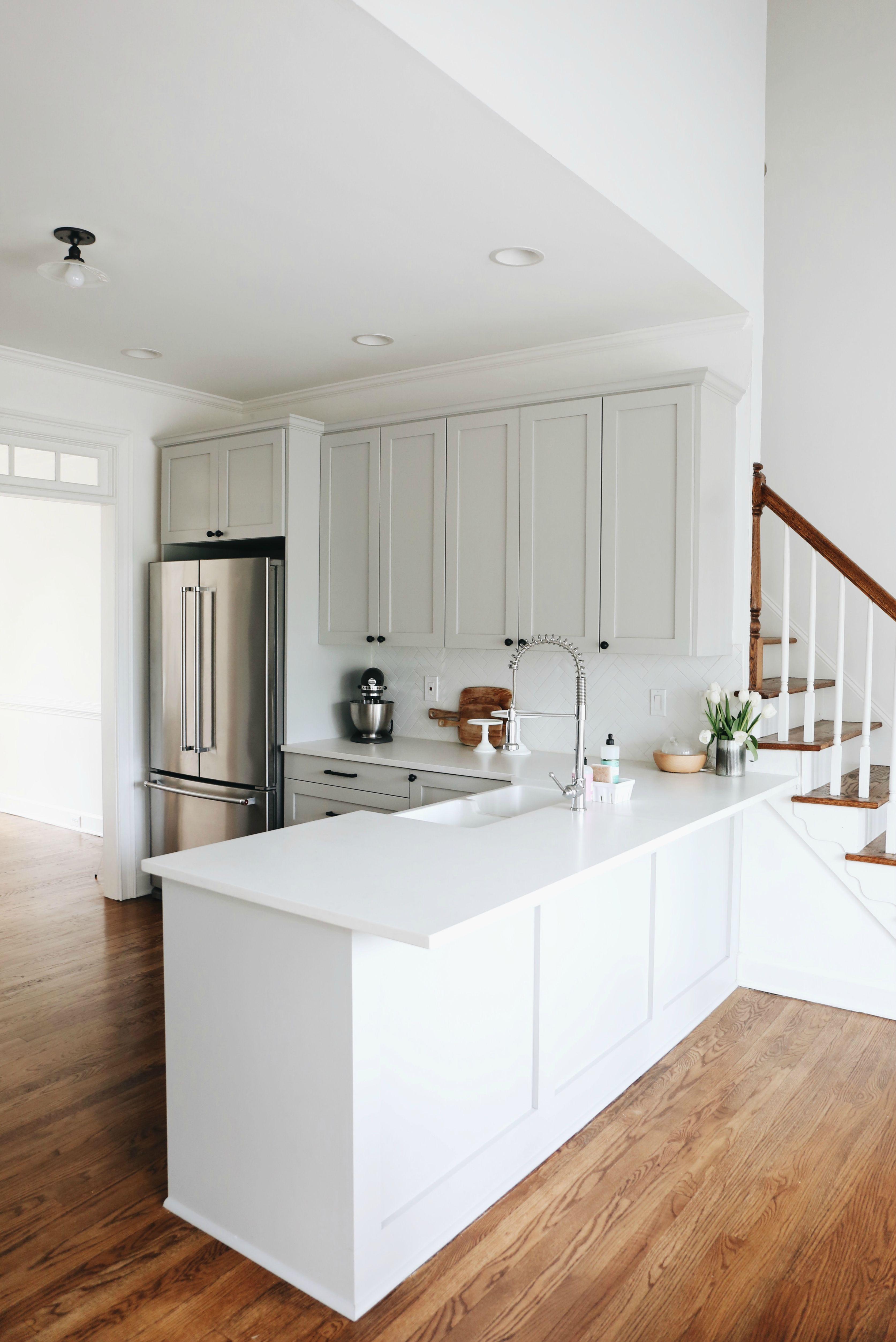 Our Kitchen Renovation Details | Herringbone backsplash, Gray ...