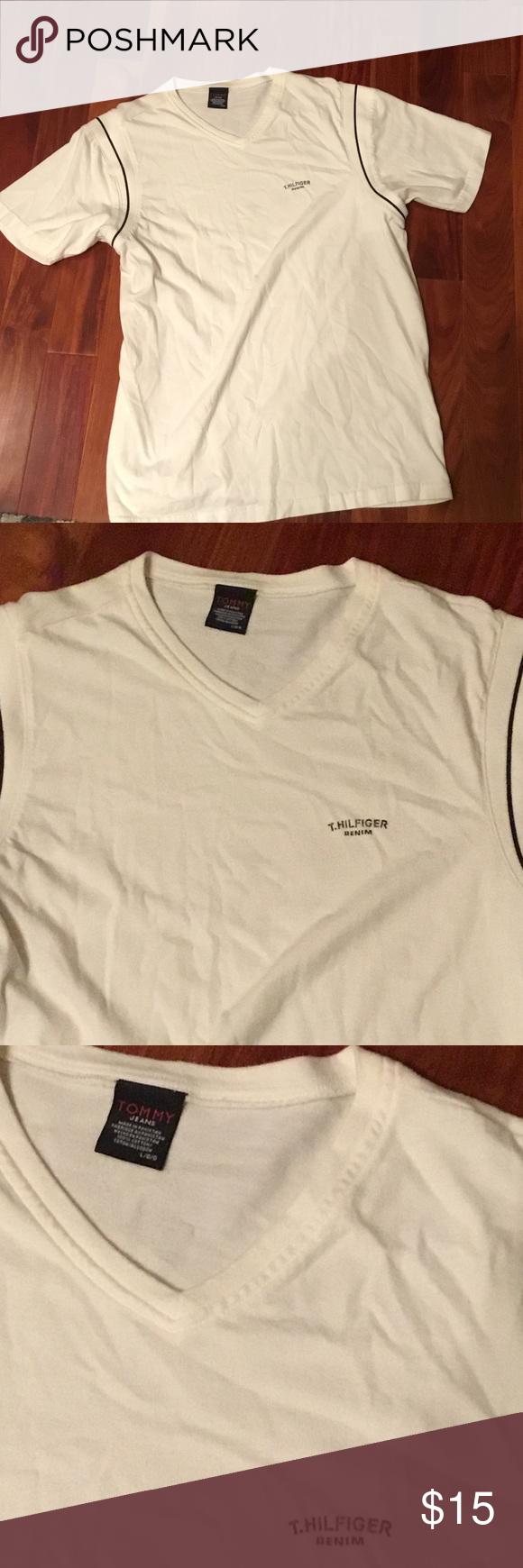New Tommy Hilfiger white v-neck top - L White Hilfiger denim branded top for men's - sz Large - new unworn Tommy Hilfiger Shirts Tees - Short Sleeve