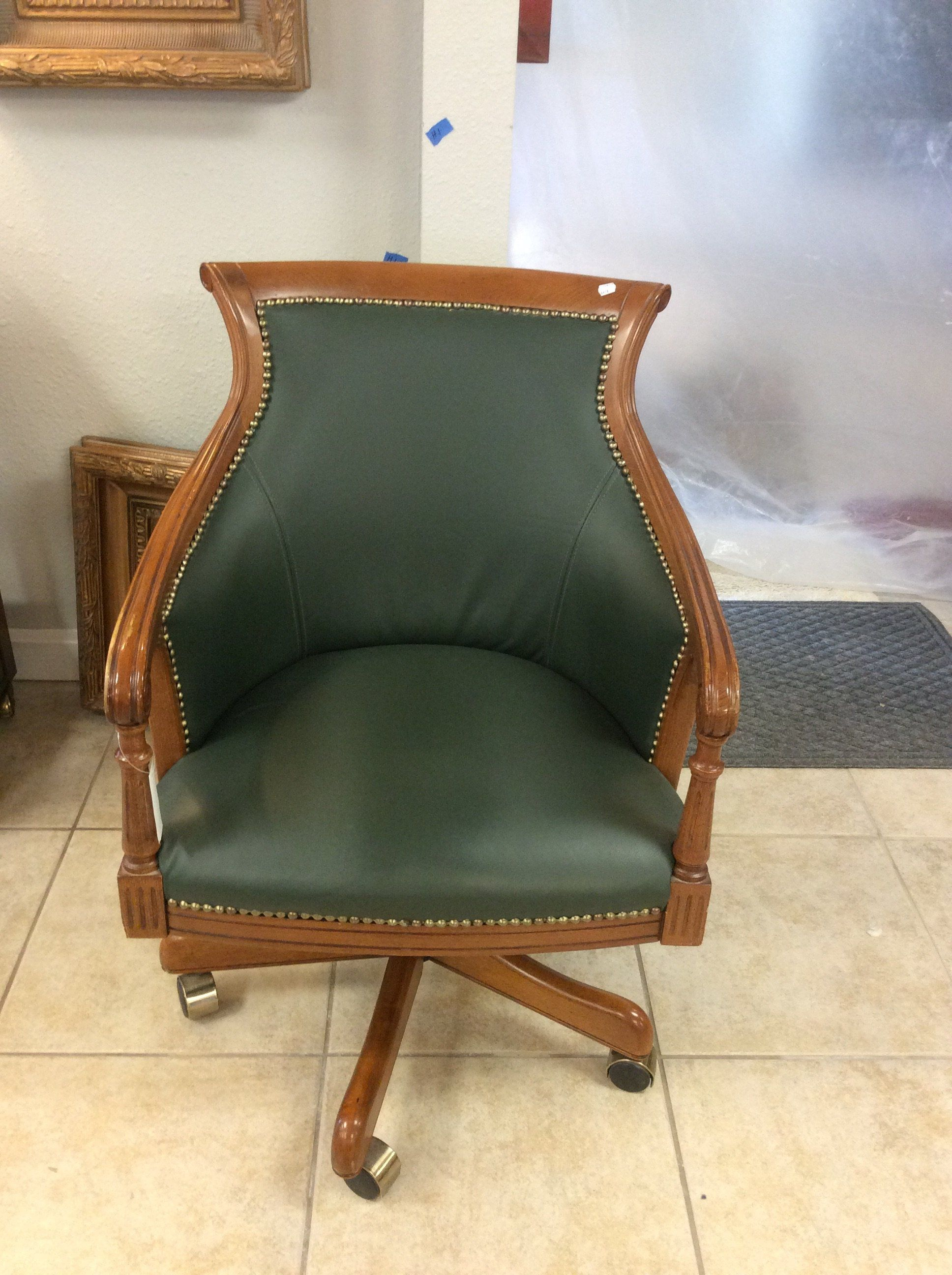 This Rolling Desk Chair Is Solid Wood With Green Gray Leather