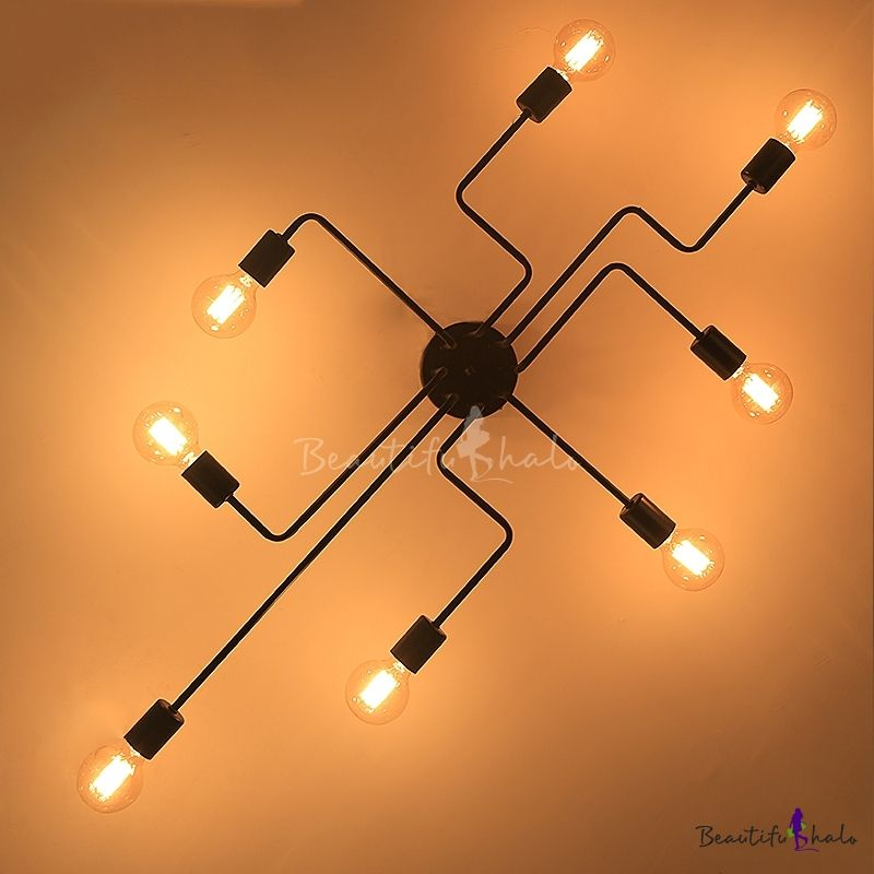 Industrial Edison Bulb Wrought Iron 8 Light Large Led Semi Flush Ceiling Light In Black Industrial Ceiling Lights Ceiling Lights Semi Flush Ceiling Lights