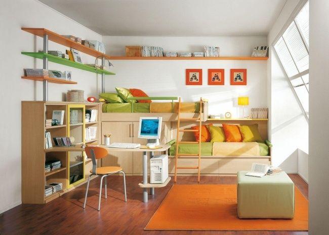 orange dekoelemente wohnideen kinderzimmer zwei betten hochbett zwillinge pinterest betten. Black Bedroom Furniture Sets. Home Design Ideas