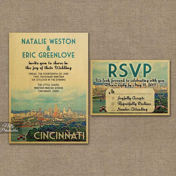 Cincinnati Wedding Invitation Printable By Niftyprintables