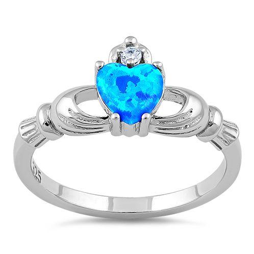 Sterling Silver Claddagh Lab Opal CZ Ring