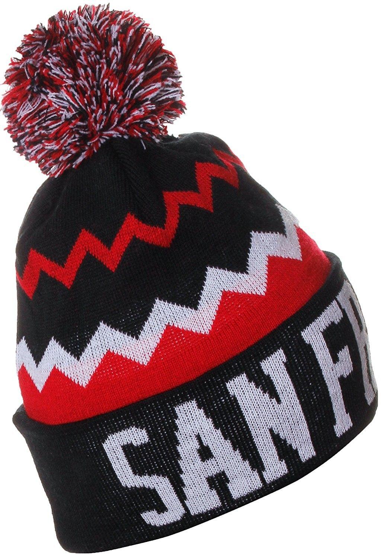 4e1b6ec5638 USA Chevron Zig Zags Pom Pom Knit Hat Beanie - San Francisco Black Red -  C0128XUQGIP