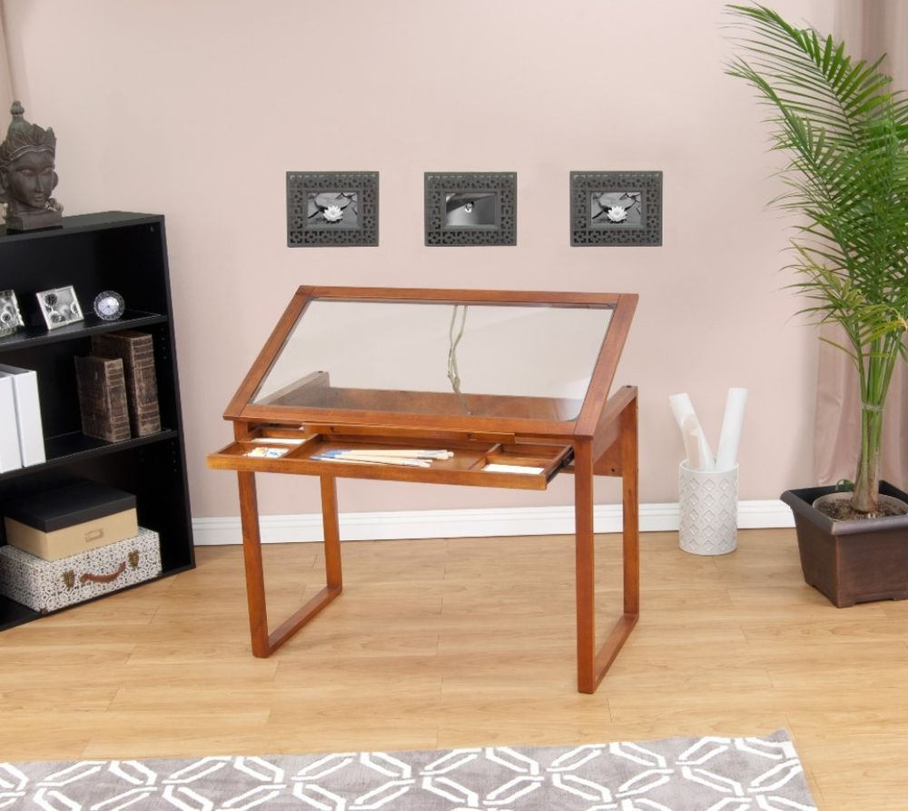 Studio Designs Ponderosa Glass Top Solid Wood Drafting And Hobby Craft Table  #StudioDesigns