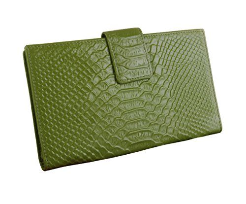 EClover Womens Leather Bifold Card Holder Wallet Purse Organizer Case Green ** Click on the image for additional details.