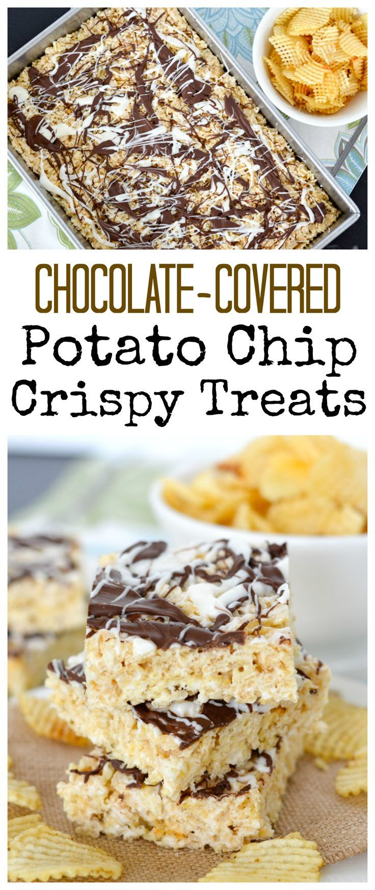 These Chocolate-Covered Potato Chip Crispy Treats are the perfect combo of sweet and salty! #crispytreats