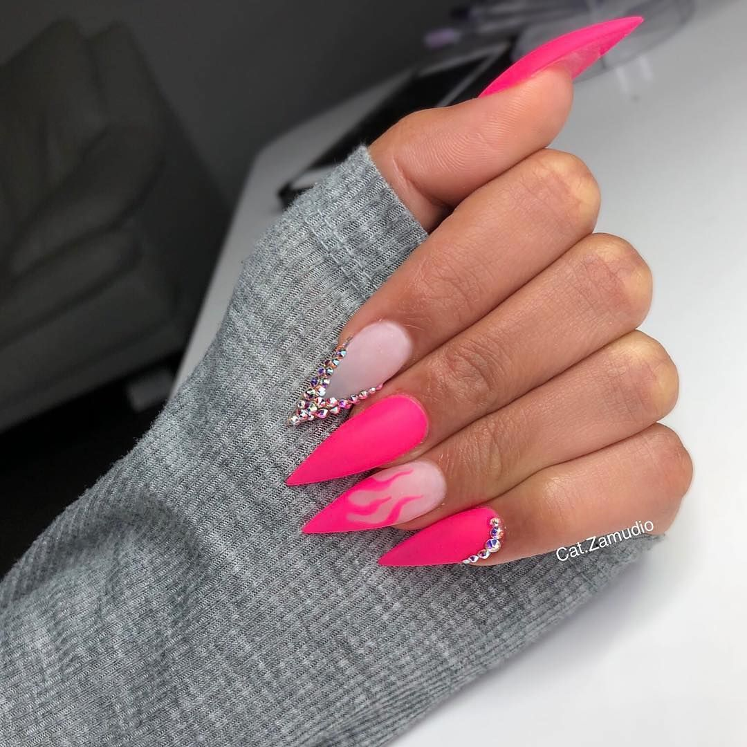 Image May Contain One Or More People And Closeup Pink Stiletto Nails Pink Nails Pretty Acrylic Nails