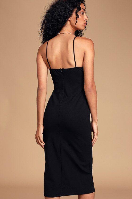 Lulus | Keep It Classy Black Sleeveless Bodycon Midi Dress | Size X-Small | 100% Polyester #blacksleevelessdress
