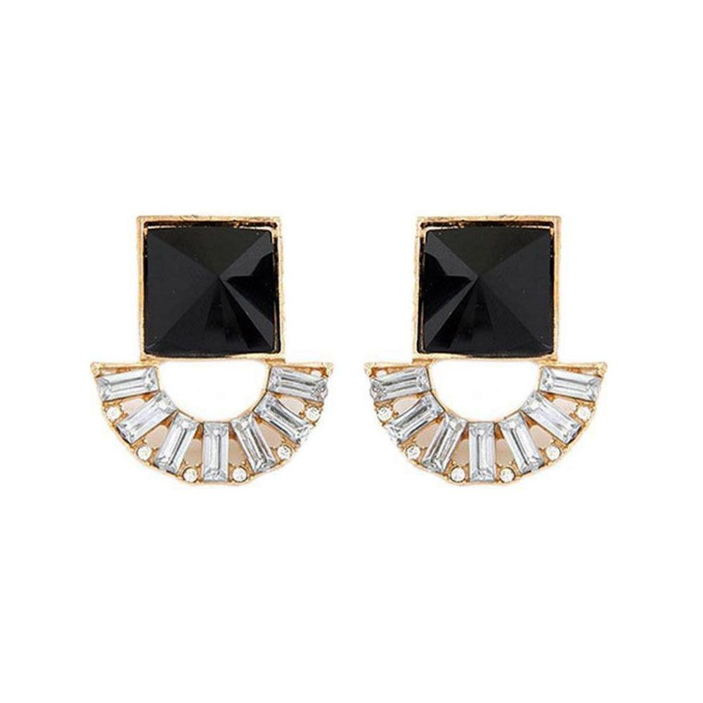 3574f85e6 Buy Jewel Touch Customized Dark Shining Square Black Stone Alloy Stud Earring  Online at Low prices