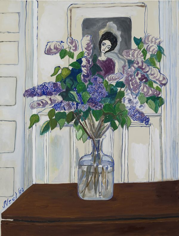 """Lilacs by Alice Neel, 1983, oil on canvas, 127 x 96,5 cm (50 x 38"""") 