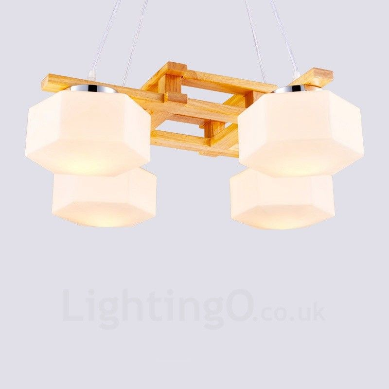 4 Light Wood Modern Contemporary Nordic Style Pendant Lights With Glass Shade For Bathroom