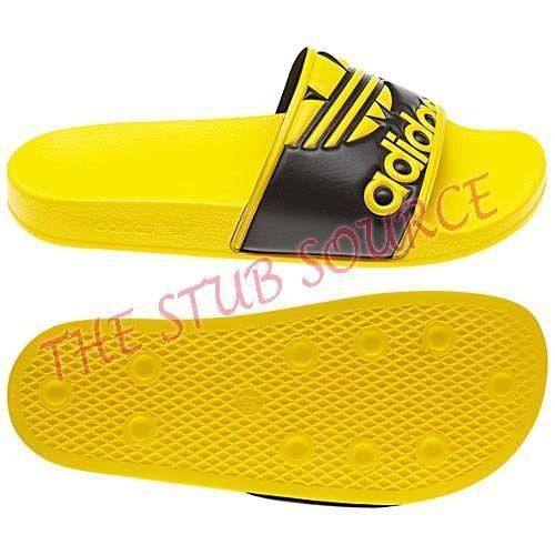 711e99320927d9 Adidas Originals Adilette TreFoil Yellow Black Sandals Slides U Pick Sz 10  or 13