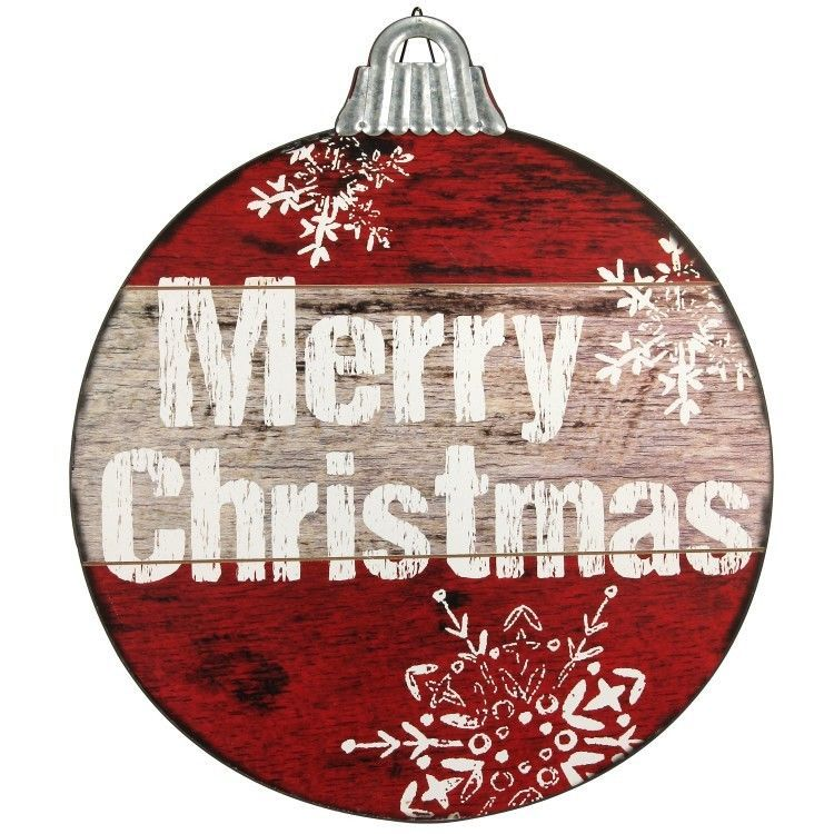 Outdoor Indoor Christmas Decoration Hanging Distressed Wooden Sign - wood christmas decorations