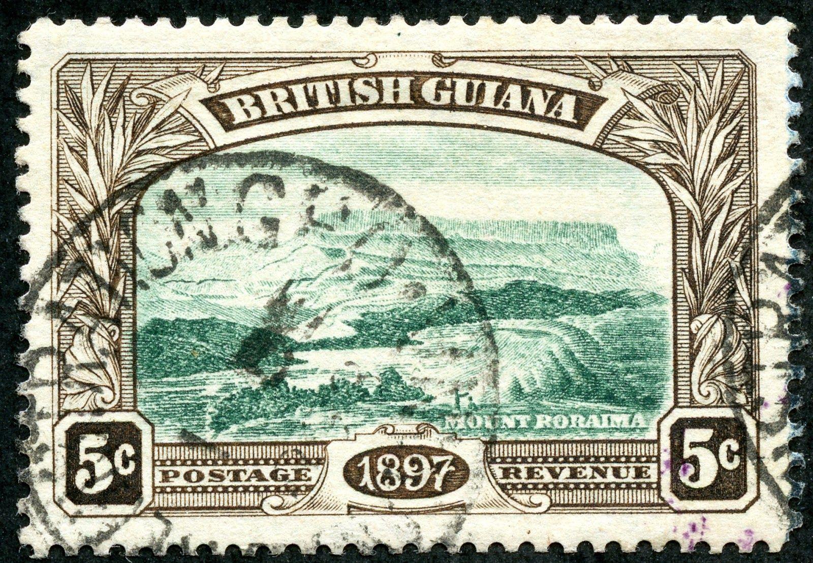 British guiana 1898 scott 154 5c brown green mt
