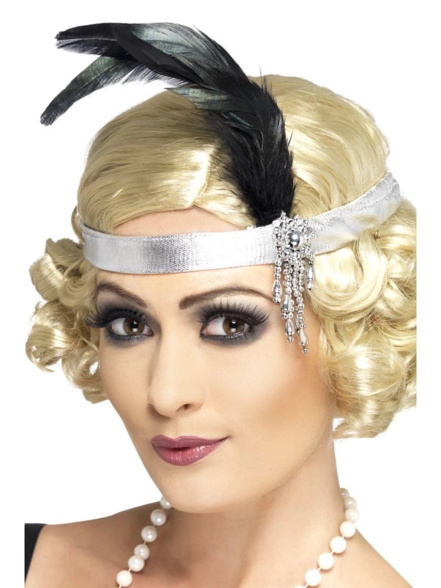 Damen Feder Stirnband Haarband Charleston 20er  Kopfschmuck~
