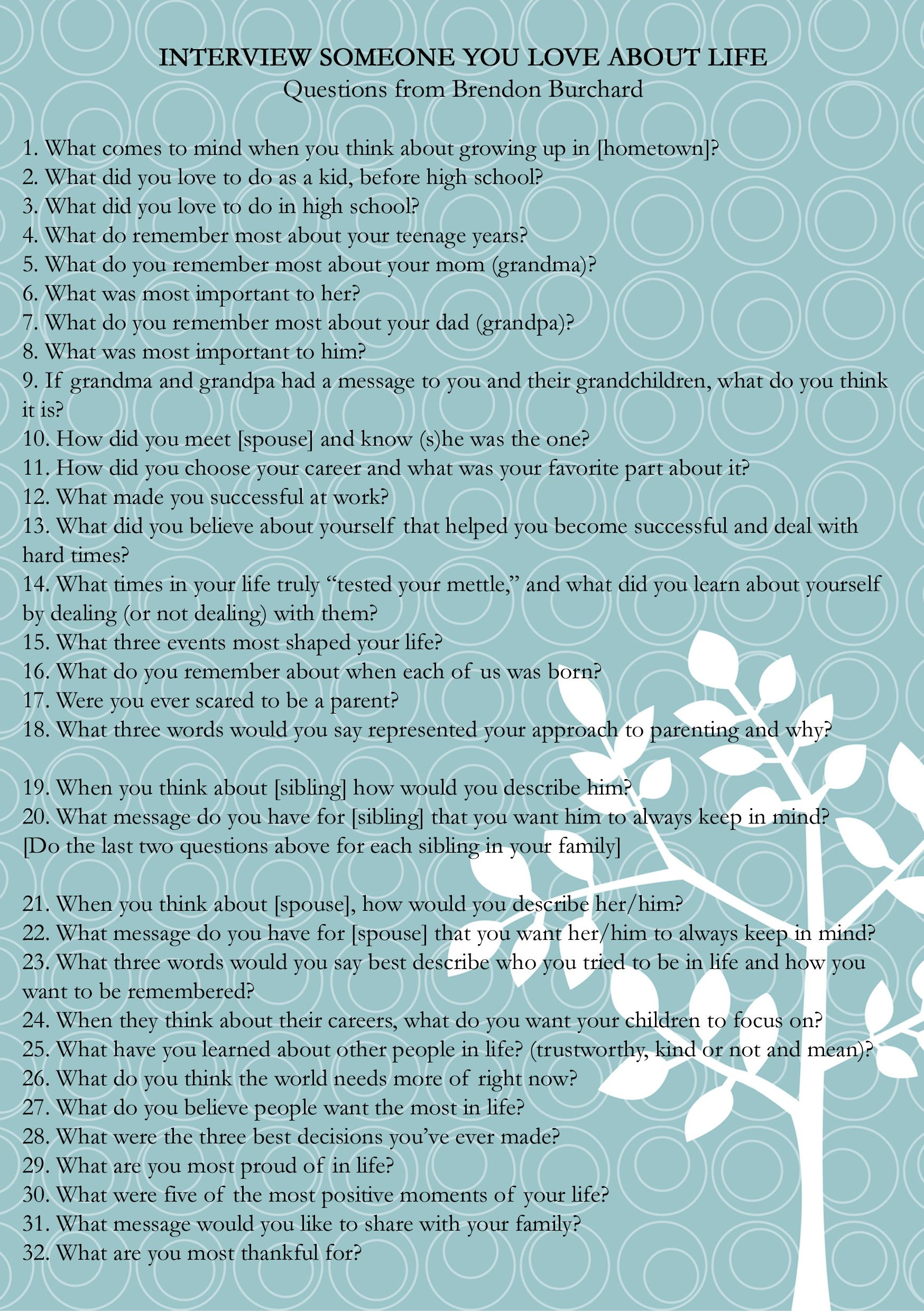 brendan burchard recently posted these interview questions i brendan burchard recently posted these interview questions i thought they would be good not just