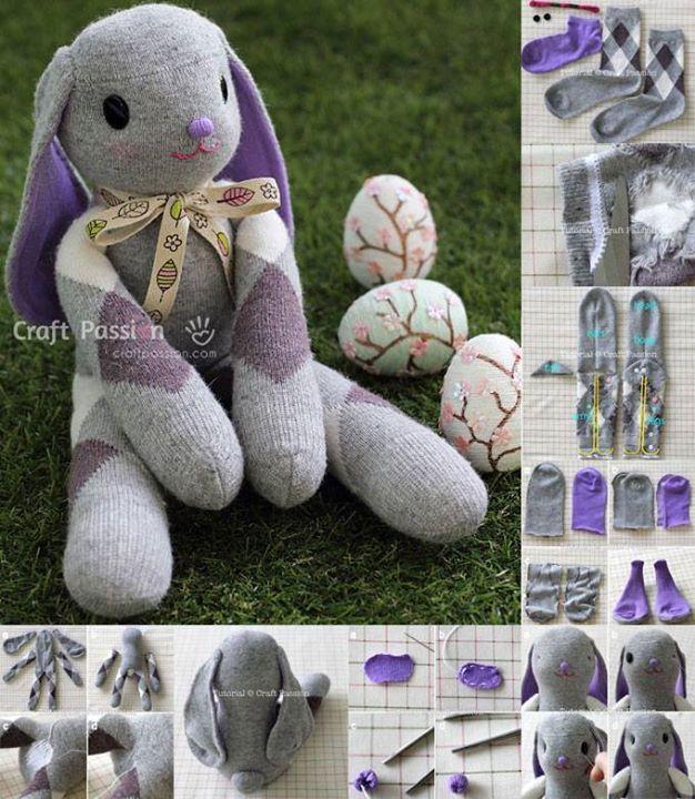 Pijama bebe origami conejo mu ecos con calcetines y - Hacer munecos con calcetines ...