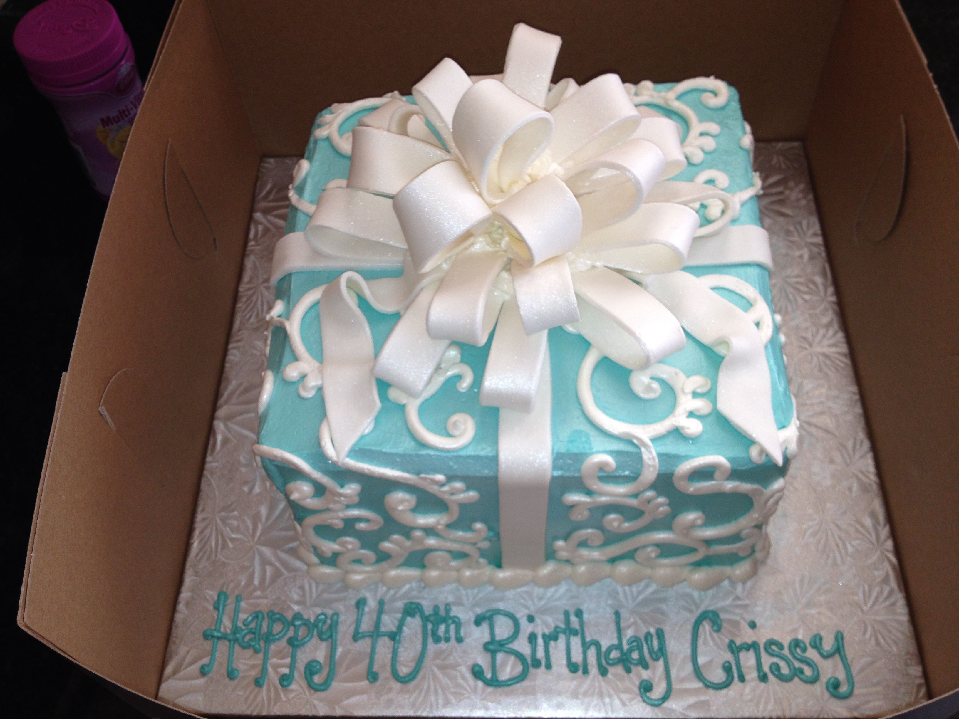 Remarkable Tiffany Blue 40Th Birthday Cake With Images 40Th Birthday Funny Birthday Cards Online Aeocydamsfinfo
