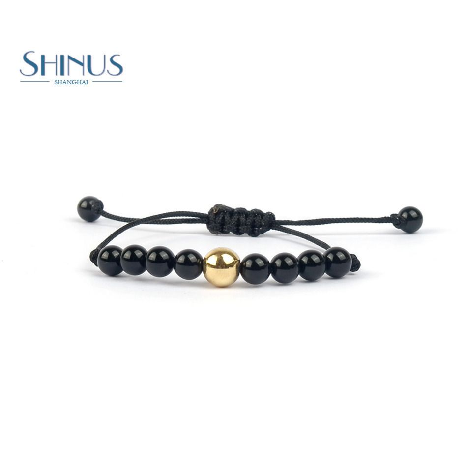 Shinus natural stone bracelets men handmade woven gold color bead
