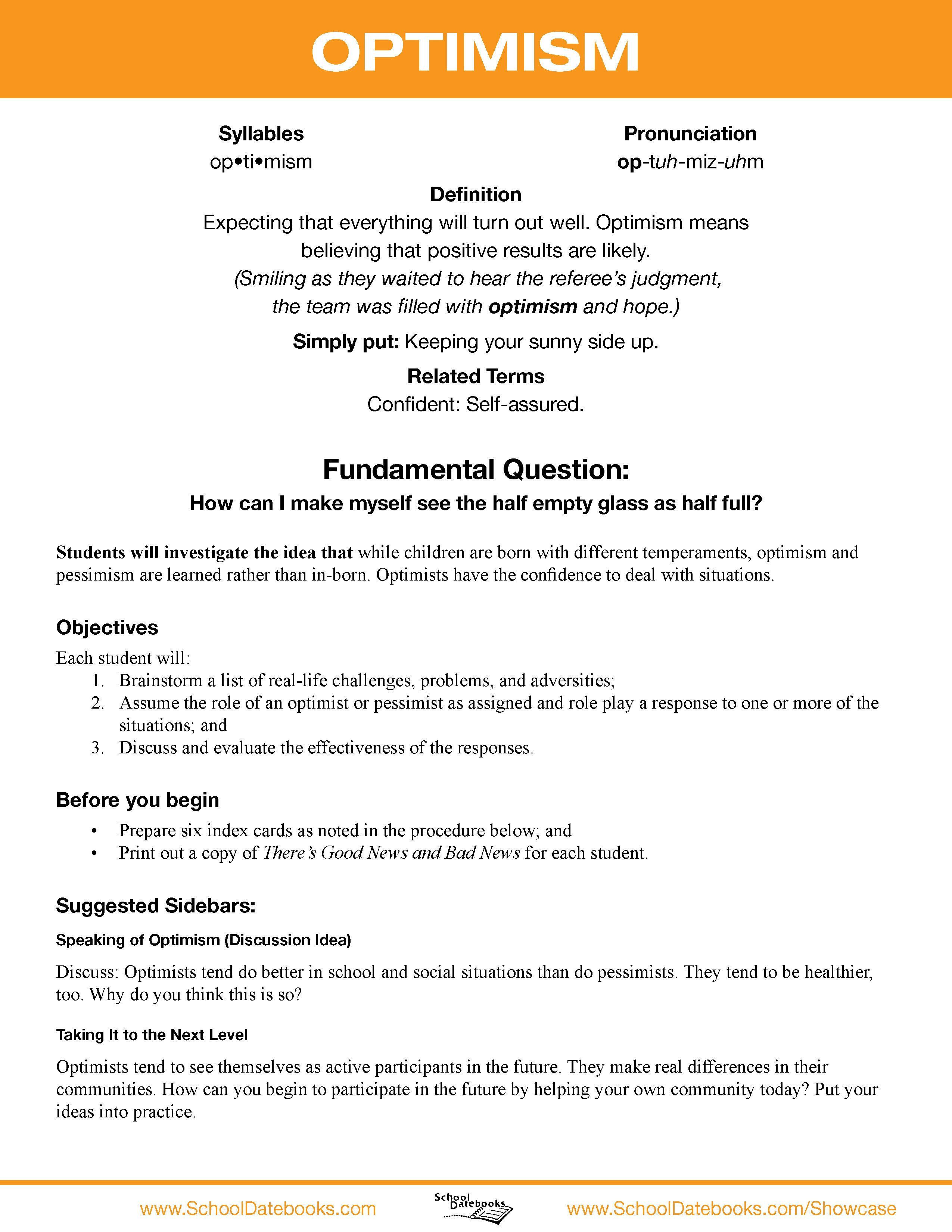 Optimism Character Lesson Plan Free Able 52 Total