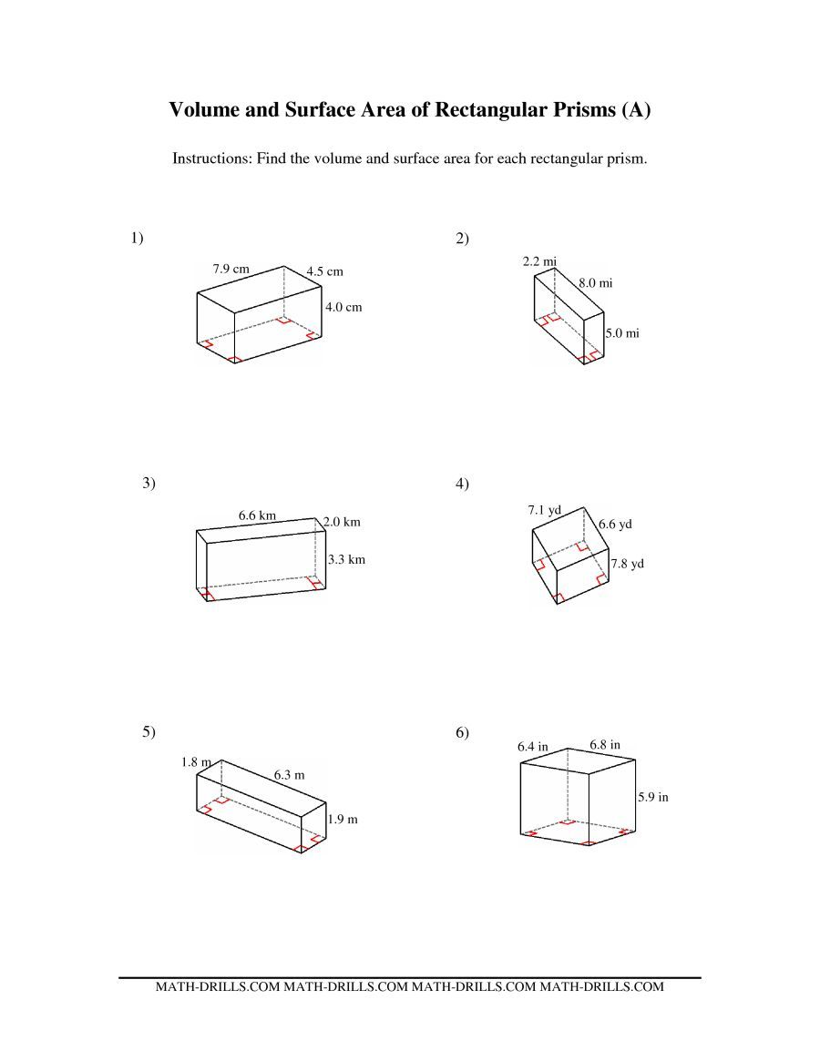 The Volume And Surface Area Of Rectangular Prisms A Math Worksheet From The Measurement Worksheets Pa Area Worksheets Fractions Worksheets Rectangular Prisms