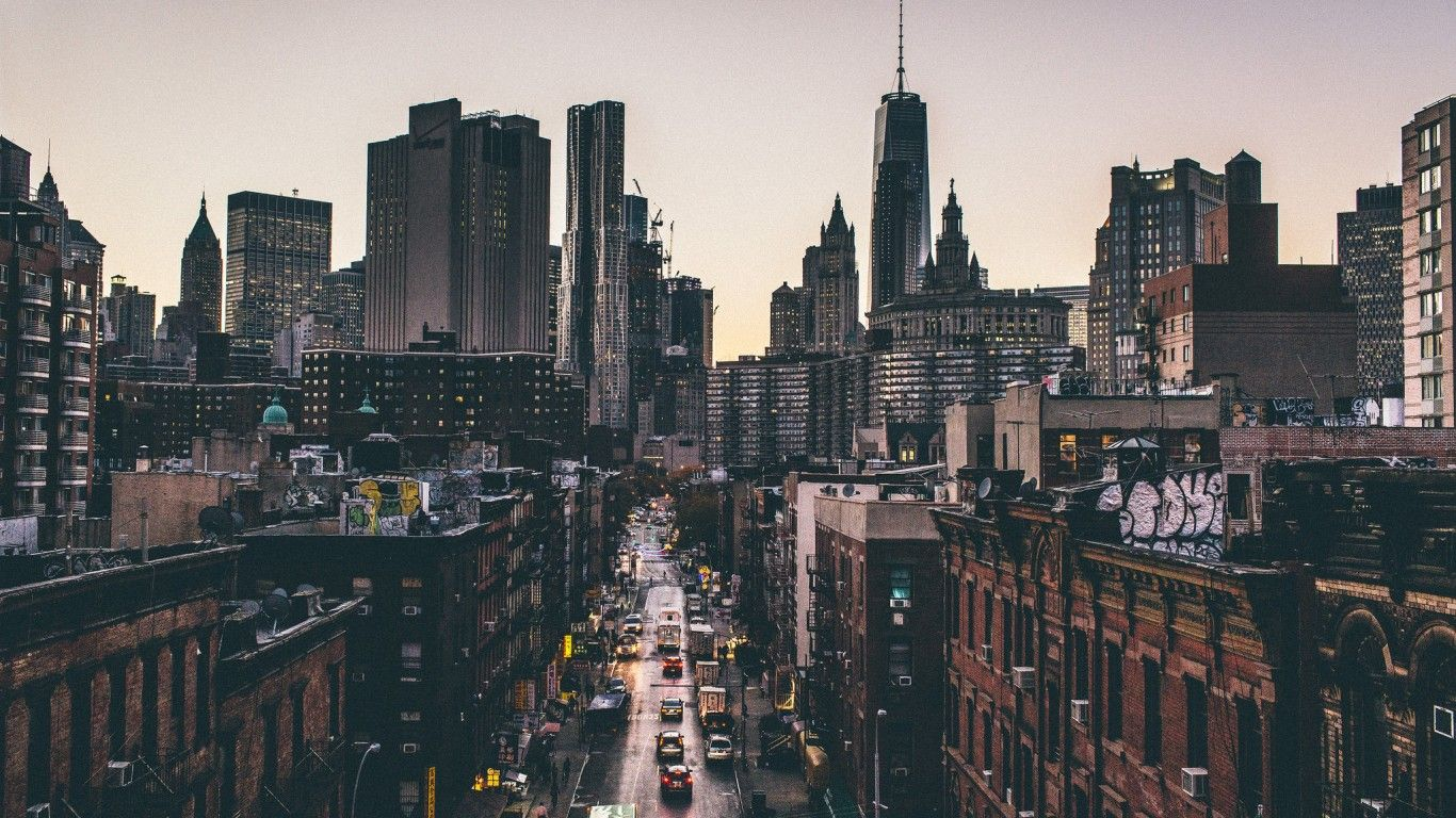Обои ночь, движение, manhatten, чайнатаун, улица, здание, манхеттен. Города foto 9